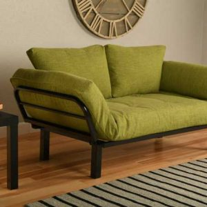 Lime green futon - linen look and feel