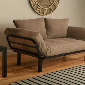 Stone Linen futon in sit position