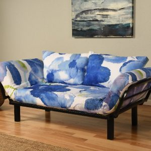 Blue Flower Futon on Black Metal Frame