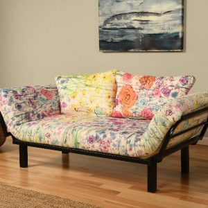Beautiful multi-colored futon on black metal frame