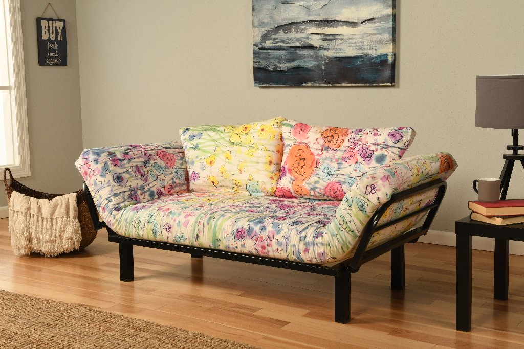 Whimsical Floral Futon Cover Black Metal Frame Spacely