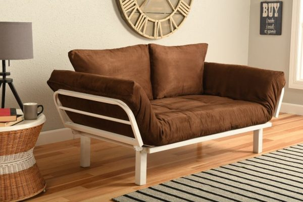 Chocolate brown suede futon with white metal frame.
